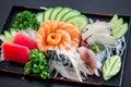 Sushi Japanese  yummy  dish  meat  fish   Salmon delicious The fish filet  Food Decoration  Wasabi  Saba rice soup salad Mayonnais Royalty Free Stock Photo