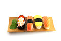 Sushi made ​​from seafood on the white background is a food of japanese Royalty Free Stock Photos