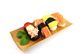 Sushi made ​​from seafood on the white background is a food of japanese Royalty Free Stock Image