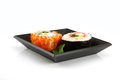 Sushi made ​​from seafood on a white background is food of japanese Royalty Free Stock Images