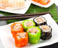 Sushi maki and shrimp sushi Royalty Free Stock Photo