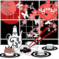 Sushi menu card illustration with sakura and butterfly Royalty Free Stock Photo