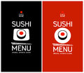 Sushi menu design template cards Stock Images