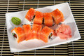Sushi menu rolls out red fish Royalty Free Stock Photo