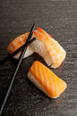 Sushi mix with chopsticks Royalty Free Stock Image