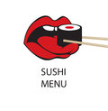 Sushi in the mouth with tongue and chopsticks Stock Photo