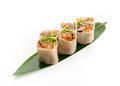 Sushi original roll with idzumi tai kabayaki and soba noodles on banana leaves on a white background Stock Photography