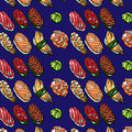 Sushi pattern beautifui hand drawn seamless for your design Stock Photo