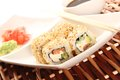 Sushi philadelphia close up of on a plate soy sauce Royalty Free Stock Photos