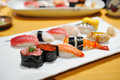 Sushi plate assorted on japanese food Royalty Free Stock Photography