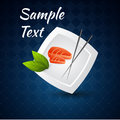 Sushi on the plate and chopsticks vector background with Royalty Free Stock Photos