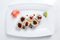 Sushi on plate maki white Royalty Free Stock Images