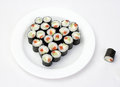 Sushi on plate in the shape of a heart Stock Photography