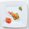 Sushi on plate white Stock Photo