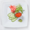 Sushi on plate white Stock Images