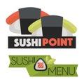 Sushi point menu logo design vector illustration isolated on white. Royalty Free Stock Photo