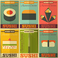 Sushi posters set in flat design illustration Royalty Free Stock Photo