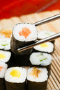 Sushi put bamboo mat Stock Images