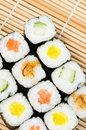 Sushi put bamboo mat Stock Photography