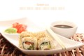 Sushi restaurant close up of on a plate soy sauce Royalty Free Stock Photos