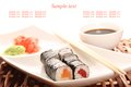 Sushi restaurant close up of on a plate soy sauce Royalty Free Stock Photography