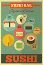 Sushi retro poster in vintage style flat design illustration Stock Images