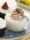 Sushi Rice Balls with Smoked Mackerel and Ameboshi Stock Photos