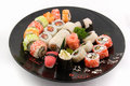 Sushi rice rolls Stock Images