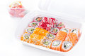 Sushi and roll assortment in box Stock Photo