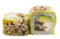 Sushi roll with avocado isolated on white background and sesame Royalty Free Stock Images
