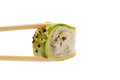 Sushi roll with avocado isolated on white background and sesame Stock Photo