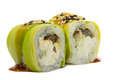 Sushi roll with avocado isolated on white background and sesame Royalty Free Stock Photos