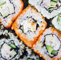 Sushi roll background fresh japanese Royalty Free Stock Photo