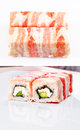 Sushi roll in bacon Royalty Free Stock Images