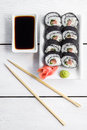 Sushi and roll with cream cheese and salmon fish inside Royalty Free Stock Photo
