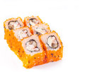 Sushi roll with eel and cheese Royalty Free Stock Photography