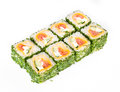 Sushi roll with greens Stock Photo