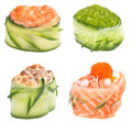 Sushi roll Gunkan set Royalty Free Stock Image