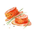 Sushi roll illustration. Hand drawn watercolor on white background.