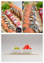 Sushi roll made dish in bamboo sticks Stock Photo