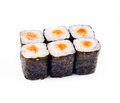 Sushi roll over white Royalty Free Stock Photo