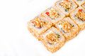 Sushi roll over white Royalty Free Stock Images