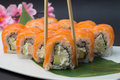 Sushi roll philadelphia of japan tradition Royalty Free Stock Images