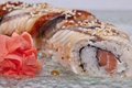 Sushi roll on a plate close up Royalty Free Stock Images
