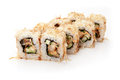 Sushi roll rolls on a white background sprinkled with tuna Royalty Free Stock Photos