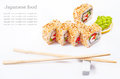Sushi roll with sesame, sweet pepper, cucumber Royalty Free Stock Photos