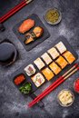 Sushi and roll set on black table Royalty Free Stock Photo