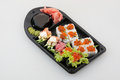 Sushi roll set japanese cuisine on white Stock Photos