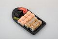 Sushi roll set japanese cuisine on white Royalty Free Stock Photography