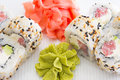 Sushi roll with tuna and sesame maki cucumber Royalty Free Stock Photos